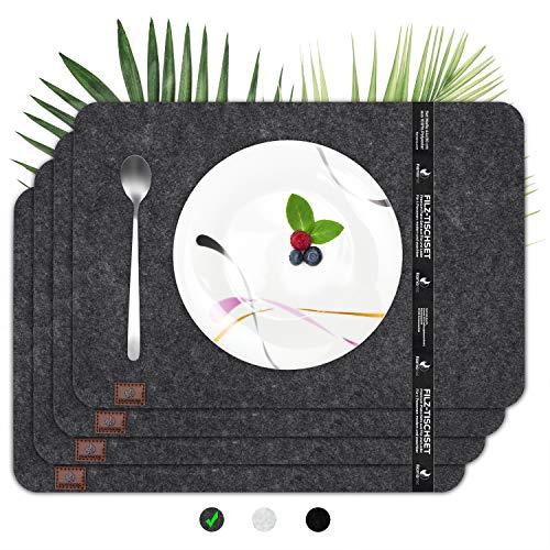 flamaroc® Platzset Filz Tischset anthrazit - Premium 4 Stück Set aus Filz, Moderne Platzdeckchen aus Filz mit Leder, waschbar, abwaschbar und hitzebeständig - Anthrazit Grau, eckig (44x30cm)