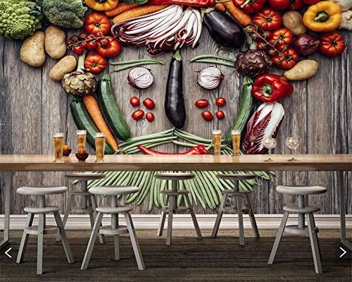 SKTYEE Gemüse tomaten pfeffer grüne erbsen kartoffel essen tapete esszimmer tv wand küche restaurant bar 3d mural @ 350x245_cm_ (137.8_by_96.5_in_) _