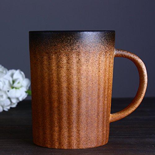 AJUNR-Feine Mode Hand Scrub Gradient Glasur Kaffeetasse Vintage Keramik Kaffeetasse Mit Untertasse Kostüme Kaffee Liebhaber (Black Jesus Kostüm)