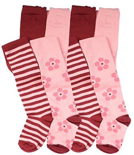 4er Set Kinder Strumpfhosen mit Blumen und Ringel-Muster, Baumwolle (Öko-Tex Standard 100 Zertifiziert)