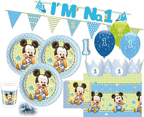 Micky zum Ersten Geburtstag Party Deko Set 16 Personen 1. Geburtstag (Mickey-mouse Geburtstag Deko)