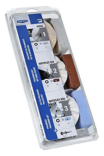 Osborn Professionelles Polierset für Bohrmaschine, 10-teilig Durchmesser 100 mm, 2x Sisal/Tuch-Ringe, 2x Ringe hartes/weiches Vlies, 3 Pasten, Schaft 6 mm, 8603600010