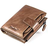 Men's Wallet, Senbos Light Brown Genuine Cowhide RFID Blocking Soft Leather Wallet Credit Card Holder Extra Capacity Bifold with Zip Coin Pocket for Valentine's Day, Father's Day