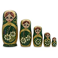 BestPysanky Set of 5 White Flowers on Green Russian Nesting Dolls 6.5 Inches