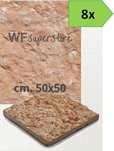 Pavimento in pietra 50x50 rustico - 8 pezzi - mattonella piastrella giardino