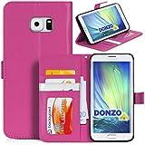 DONZO Tasche Handyhülle Cover Case für das Samsung Galaxy S6 Edge Plus in Pink Wallet Structure als Etui seitlich aufklappbar im Book-Style mit Kartenfach nutzbar als Geldbörse