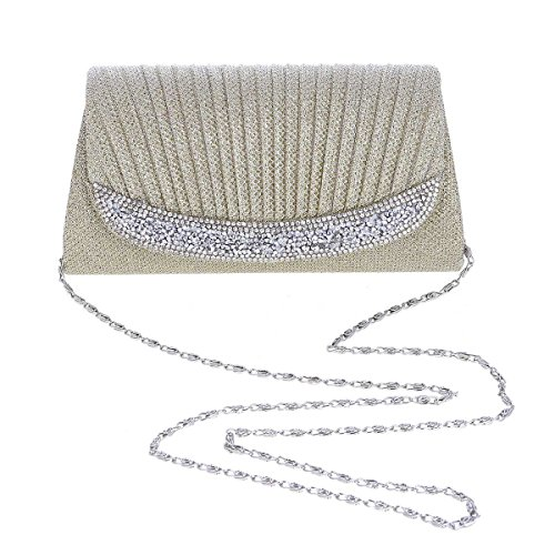 Damara® Ladies Party Elegante Pieghevole In Cristallo A Mano Clutch Bianca