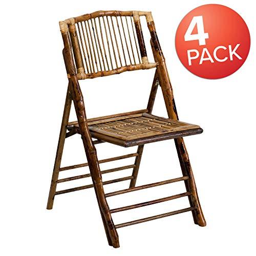 Flash Furniture 4 Stück in der Packung American Champion Bambus-Klappstuhl -