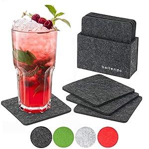 bellendo® Glasuntersetzer Filz 8er Set, Design Filzuntersetzer für Gläser mit Box - 10x10cm - Untersetzer eckig, dunkelgrau
