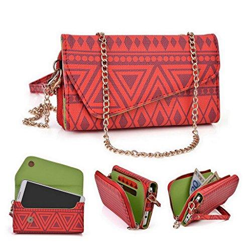 Kroo Tribal Urban Style Phone Case Walllet Kupplung für MaxWest Virtue Z5/GRAVITY 5,5 mehrfarbig rot (Kleine Urban-umschlag)