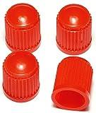 PRESKIN 4 er Set Premium Auto Ventilkappen Standard Rot Valve Caps für Auto, Motorrad und Fahrrad