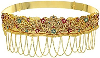Multiline Company Antique Golden Stone Studded Traditional Temple Theme Kamarband for Women