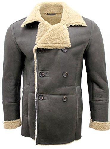 Herren Olive Khaki zweireihiger Echt Schaffell Pea Coat L (Leder Flieger Jacke Fell Futter)