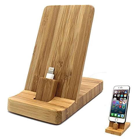 iPhone Charging Stand - Rerii Bamboo Charging Stand, Charger Cradle Dock Station for iPhone 7 Plus / 7, iPhone SE, 6S Plus / 6S / 6 Plus / 6, 5S / 5, Supports iPhone with Different Case
