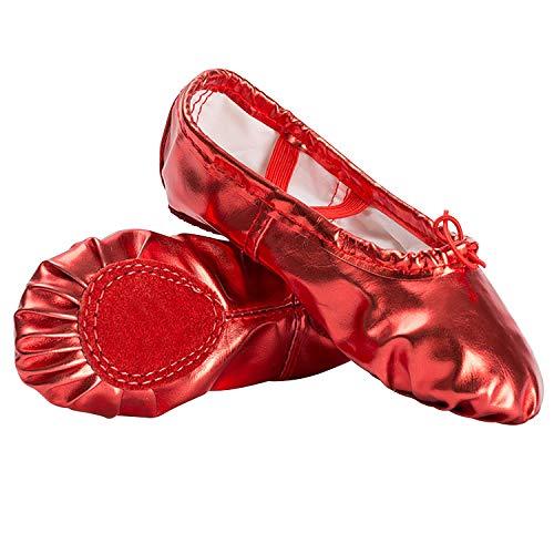 Ballettschuhe Mädchen Tanzschuhe ballettschläppchen Damen bequem Spitzenschuhe Kinder PU Rot 41 - Rote Ballettschuhe