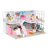 Momola Hölzern DIY Puppenhaus Miniatur-Kit mit LED Licht,Miniaturhaus Möbel Haus Puzzle Kreative...
