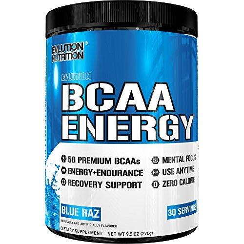 Evlution Nutrition BCAA ENERGY | Suplemento En Polvo De Aminoácidos Para Aumento Muscular Alto Rendimiento Resistencia | Contiene 30 Tomas | Sabor Frambuesa Azul