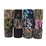 QPOWER Rubans de Camouflage extérieur Non tissés Auto-adhésifs, 12 Rouleaux - Woodland Camo - Enveloppe de Fusil