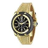 Glam Rock summerTime Femme 40mm Bracelet Cuir Boitier Acier Inoxydable Plaqué Or Quartz Montre GR40055