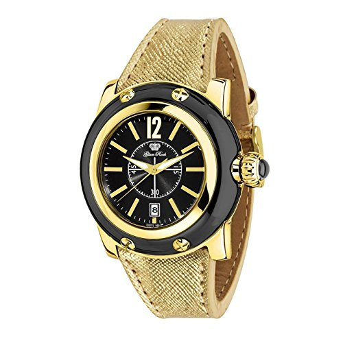 Glam Rock Women's Summer Time 40mm Gold-Tone Leather Band Gold Plated Case Swiss Quartz Watch GR40055