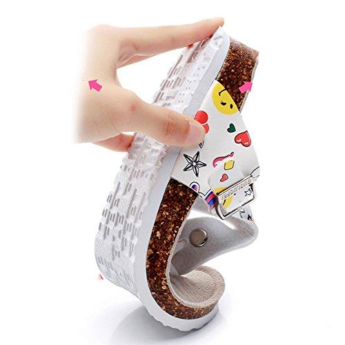 Estate Sandali Pattini freddi del nuovo sughero stampato di modo di estate Scarpe casuali della spiaggia della donna Colore / formato facoltativo #2