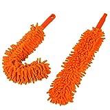 Flexibel Staubwedel, DEDC 2er/Set Chenille Duster Staubbürste Mikrofaser Reinigungstücher Waschbar Abziehbar 55cm für Auto Haushalt Orange