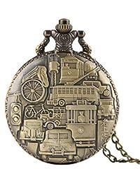 Men's Retro Vintage Old Boy Creative Decorations Quartz Pocket Watch Unique Necklace Pocket Watch for Boys