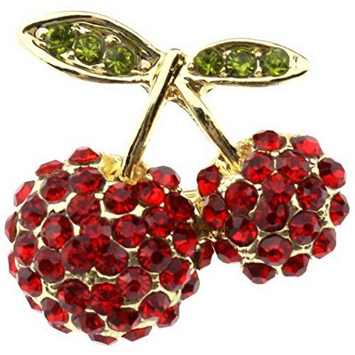 Ukerdo Rot Kirsche Brosche Kristall Strass Hochzeit Kleid Broschen Stift Accessories (Kirsche Roten Kleid)