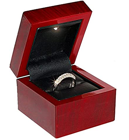 Cherry Wood Style Plastic Ring Box With Light