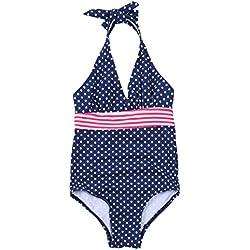 iEFiEL Traje de Baño Lunares Bikini Bañador de Una Pieza Deportivo Body para Niña Vacaciones de Verano Azul Oscuro 10-11 Años