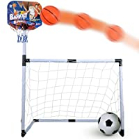 KIDS BASKETBALL FOOTBALL SET SYSTEM CHILDRENS INDOOR AND OUTDOOR STAND GAME HOOP CHRISTMAS GIFT