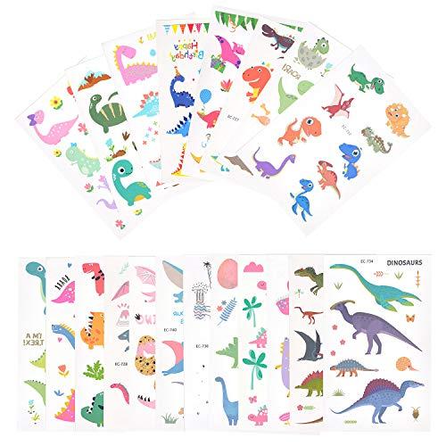 EKKONG Dibujos Dinosaurio Tatuajes temporales Kit