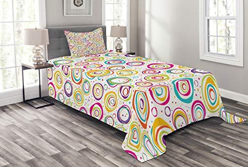 Abakuhaus Geometrisch Tagesdecke Set, Kinder-Spirale und Punkte, Set mit Kissenbezug Waschbar, für Einselbetten 170 x 220 cm, Multi