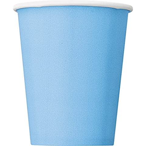 Unique Party - Paquete de 8 vasos de papel para fiestas, 260 ml, color azul (30902)