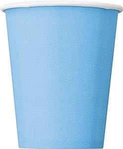 Unique Party- Paquete de 8 vasos de papel, Color azul claro, 266 ml (30902)