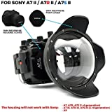 For Sony A7II A7R II A7S II [ILCE-7M2/7RM2/7SM2] 130FT/40M Underwater Camera Diving Waterproof Housing(Housing+Wide Angle Dome Port+Standard Port)