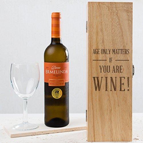Gravur Holz Wein Box–Funny Geburtstag Geschenk für Damen und Herren–Alter nur ankommt, wenn Sie Wein (Geschenk Ideen Für Die Frauen Aus 40)