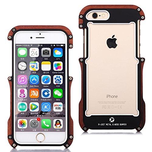iPhone 6Cas, iPhone 6S en bois métal pare-chocs, Cool en aluminium alliage métal bois Dropproof aux chocs cadre en bois coque pour téléphone portable iPhone 66S 11,9cm, argent, iPhone 6 noir