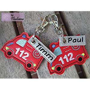 Anhänger personalisierbare Feuerwehr mit Namen rot Schlüssel-Anhänger Taschen-Anhänger