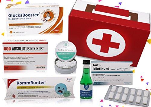 Geburtstags-Geschenk | Erste Hilfe Set Geschenkbox, witziger Sanikasten | 7-teilig | Spaßgeschenk
