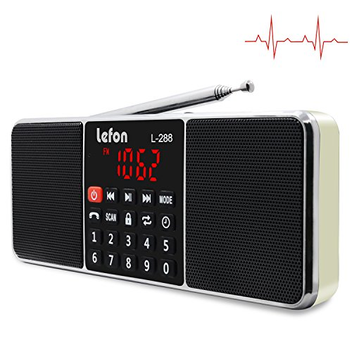 LEFON FM AM Digital Radio Dual Bluetooth Lautsprecher MP3 Musik Player Unterstützungs-TF-Karte USB-Scheibe 3.5mm AUX Linie-in LED-Schirm-Anzeige (Golden)