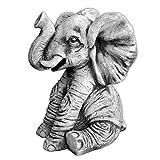 Gartendekoration Lustiger Elefant aus Steinguss frostfest