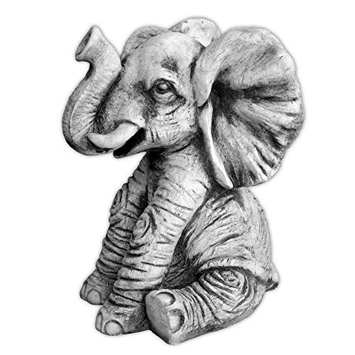gartendekoparadies.de Massive Steinfigur Lustiger Elefant aus Steinguss frostfest