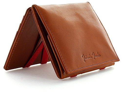 JAIMIE JACOBS Flap Boy - Das Original - Magic Wallet mit Münzfach Magischer Geldbeutel mit RFID-Schutz und Kleingeldfach Herren echtes Leder Cognac mit Rot -