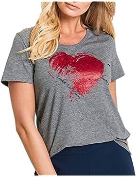 SALLDREAM Moda Mujer Tops Casual Corto Sin Mangas O-Cuello Love Print Camiseta
