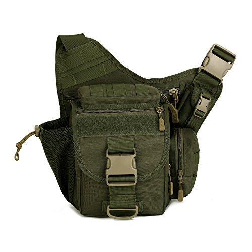 Outdoor Multifunzione Borsa a Tracolla Tattico Militare Borsa Messenger Porta Fotocamera per Sport Campeggio Alpinismo Escursionismo, Verde Verde