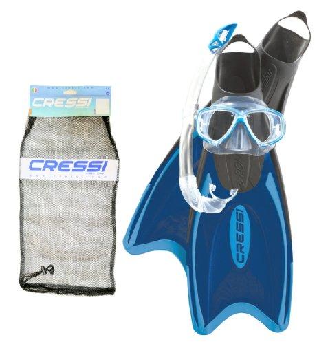 Cressi, Elastic Bag, Set Snorkeling Pinne Elastic Long + Maschera Perla + Snorkel Mexico (Blu/Azzurro, L/Xl-44/47,