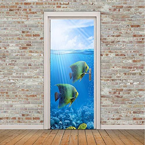 Haipeiy Türaufkleber Tropische Fische tür wandaufkleber DIY wandbild Schlafzimmer wohnkultur Poster PVC Wasserdichte tür Aufkleber 77x200cm