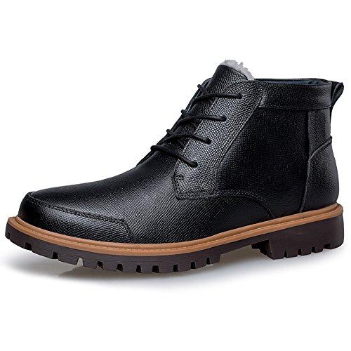 Shenn Herren Knöchel Fell Lined Verschleißfestigkeit Mode Vollnarbigem Leder Motorbike Stiefel 1855H(Schwarz,43EU) (Herren Leder Glatt Stiefel)