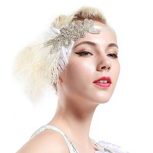 Babeyond Damen Stirnband Flapper 1920s Stil Stirnband mit weisser Pfau Feder Inspiriert von Der Große Gatsby Party Accessoires für Damen Einheitsgröße - 4